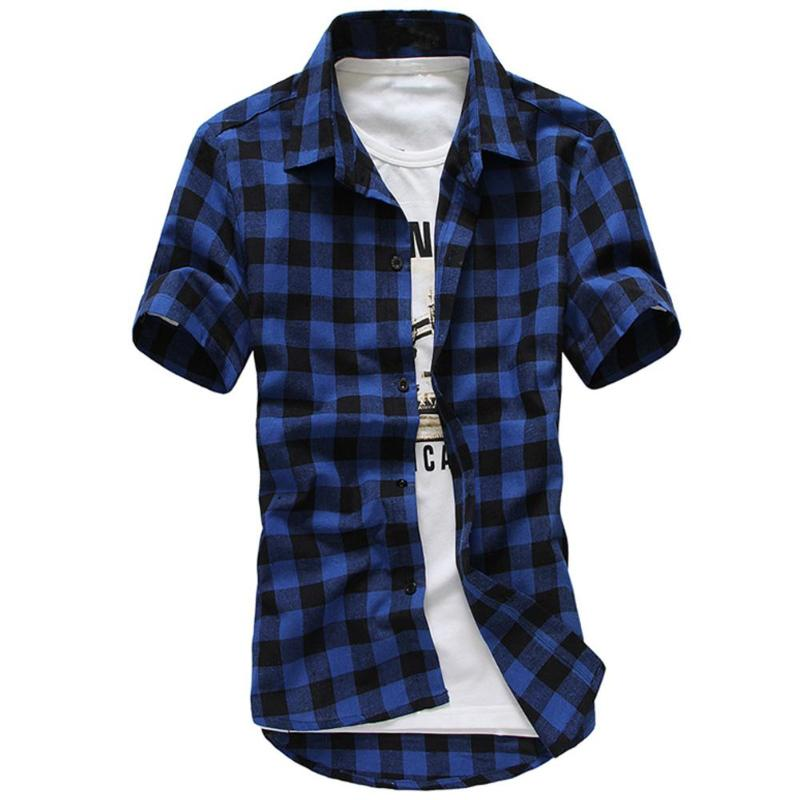 Men Plaid Shirts Casual Teenage Short Sleeve Turn Down Collar Slim Fit Check Shirt Tops