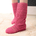 2015 New Women's Cut-Outs Fashion Shoes Knitted Line Gauze Boots High-leg Boots Summer Autumn Boots size35-41