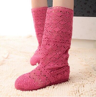 2015 Novos das Mulheres Cut-Outs Sapatos Moda Malha Linha Gauze Botas de Alta perna-Botas Botas de Verão Outono size35-41