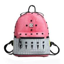 Новинка PU Python заклепки аллигатора узор Для женщин рюкзак сладкий свежий дорожная сумка эллипса Форма молнии сумка мешок мобильного телефона