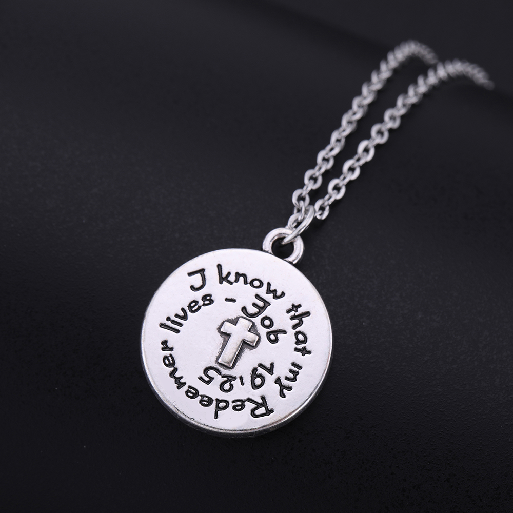 My Shape Silver Letter Cross Round Necklaces Vintage Religious Bible Engraved Pendant Charm Necklace Alloy Jewelry Accessories in Pendant Necklaces from Jewelry Accessories