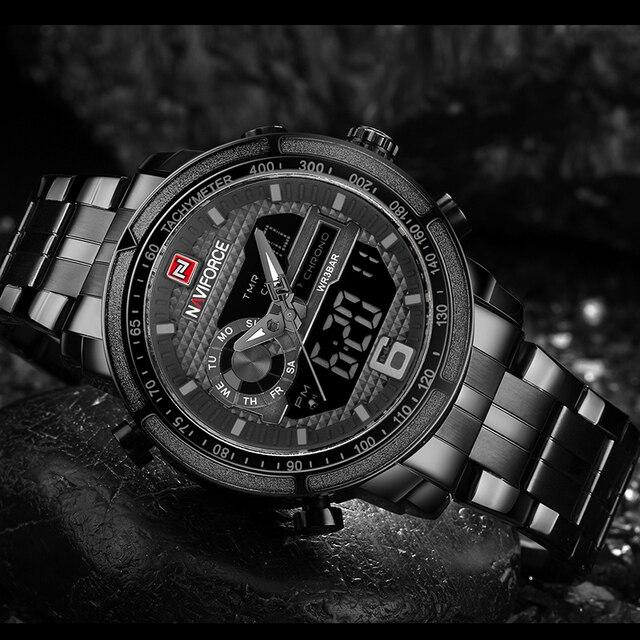 NAVIFORCE Luxury Brand Full Steel Watch Men Army Military Sport Wrist Watches Men's Quartz Digital LED Clock relogio masculino