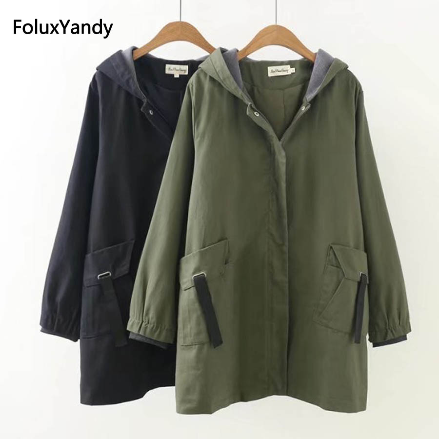 Autumn   Trench   Coat for Women Plus Size 3 4 XL Casual Hooded Loose Long   Trench   Outerwear Army Green Black KKFY268