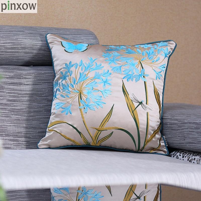 刺繍フェイクシルクホーム装飾スロー枕カバーソファ赤い国クッションカバーソファー素朴な青枕ケースベッドチェア