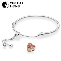 YCH 100% 925 Sterling Silver New Rose Love Bloom Charm Bead with Romance Armband Moment Sliding Bracelet Set Gift for Women