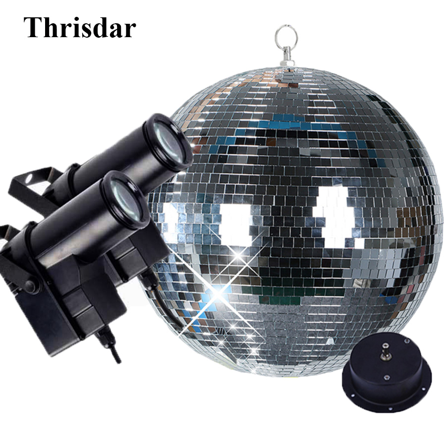 Thrisdar Dia25CM 30CM Hanging Glass Disco Mirror Ball With 2PCS 10W RGB Beam Pinspot Lamp Wedding