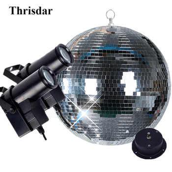 Thrisdar Dia25CM 30CM Hanging Glass Disco Mirror Ball With 2PCS 10W RGB Beam Pinspot Lamp Wedding Party KTV Disco Stage Light - DISCOUNT ITEM  25% OFF All Category