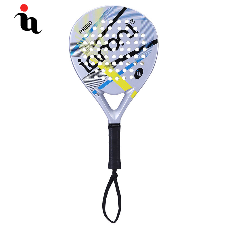 IANONI PaddleBall Racket Men Hot New Padel Raqueta Contrast Color Stripe Full Carbon Fiber EVA Professional Overgrip Cricket Bat stripe contrast split pants
