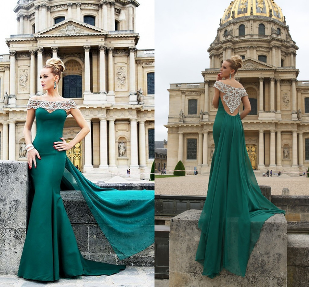 Fashion Pearls Beading Green A-Line   Prom     Dress   Long 2019 Boat Neck See Through Floor Length Formal Gowns Vestido De Baile Abiye