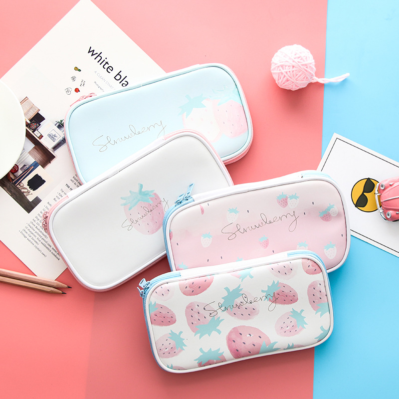 Big 2 Layer Pencil Case Etui Cute Kawaii Fruit Pencil Bags Box Large Pen Cases For Girls Bts Korean Stationery School Supplies large capacity canvas pen case for boys korean big kawaii pencil bag box multifunction stationery holder school supplies pencase