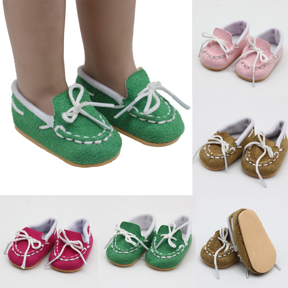One Pair 43cm Height Dolls Shoes for 18 Inch Doll Born Baby Doll Pink Rose red Green Brown Shoes Doll Accessories in Dolls Accessories from Toys Hobbies