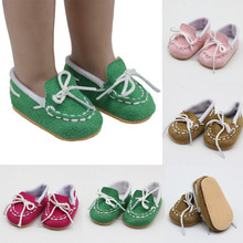 One Pair 43cm Height Dolls Shoes for 18 Inch Doll Born Baby Pink Rose-red Green Brown Accessories