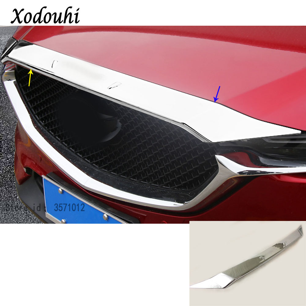 Car ABS Chrome front engine Machine racing grille grill hood stick lid trim lamp hoods For Mazda CX-5 CX5 2nd Gen 2017 2018Car ABS Chrome front engine Machine racing grille grill hood stick lid trim lamp hoods For Mazda CX-5 CX5 2nd Gen 2017 2018