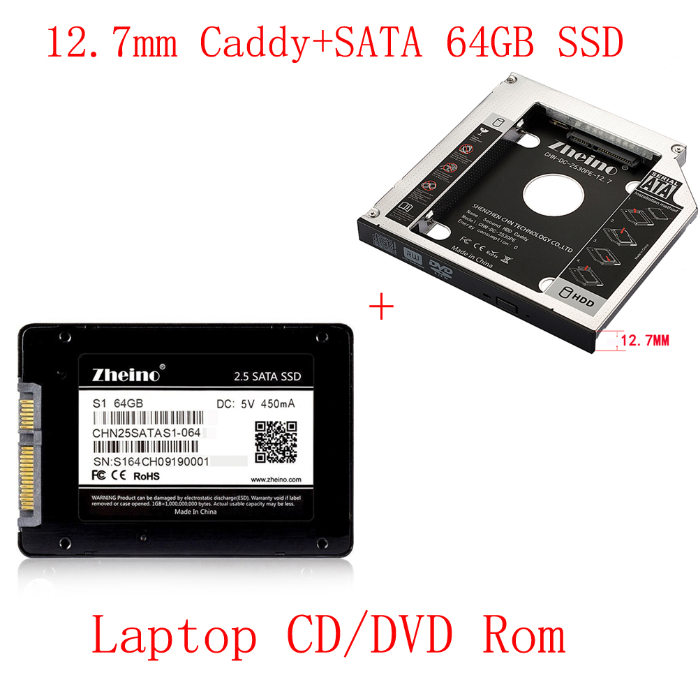 Zheino SATAIII 64GB SSD with Aluminum 12.7mm Caddy Laptop 2nd Sata SSD HDD Frame Caddy Adapter Bay CD/DVD-ROM Optical For laptop