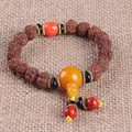Ubeauty natural Nepal bodhi seed 9mm 16 beads prayer bracelet with Red Coral meditation bracelet jewelry free shipping