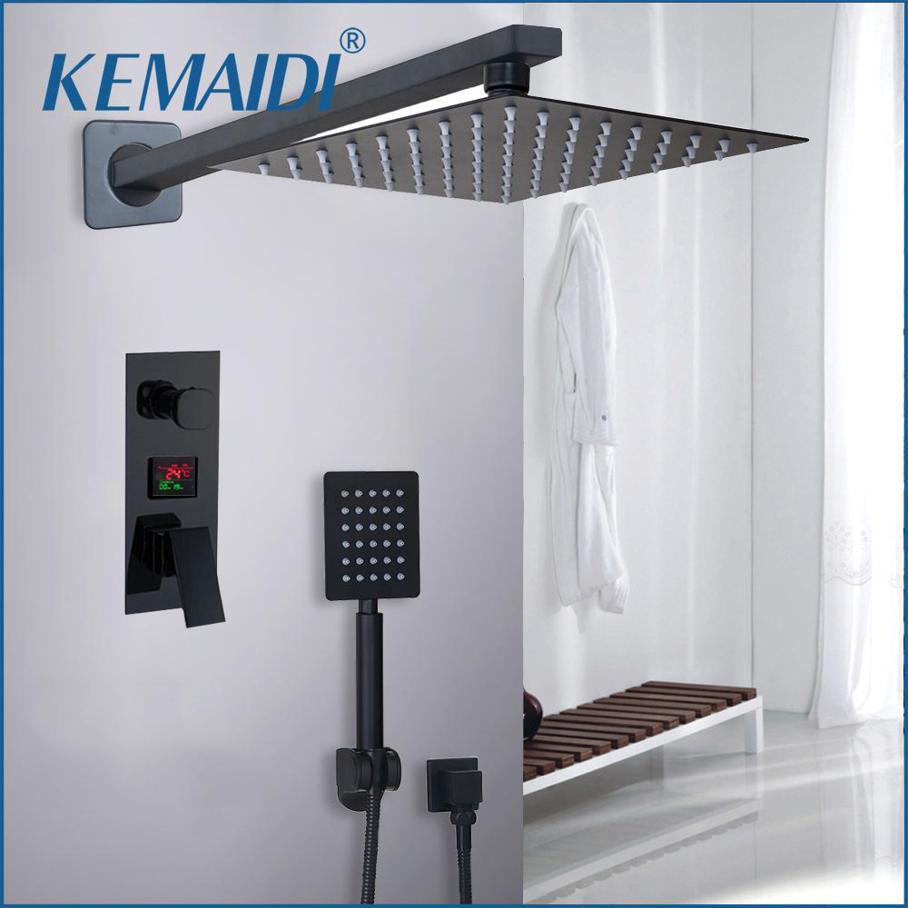 KEMAIDI Bathroom Shower 2 Functions Black Digital Shower Faucets Set Rainfall Shower Head 2 way Digital