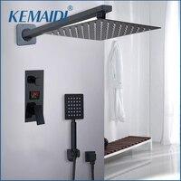 KEMAIDI Bathroom Shower 2 Functions Black Digital Shower Faucets Set Rainfall Shower Head 2 way Digital Display Mixer Tap