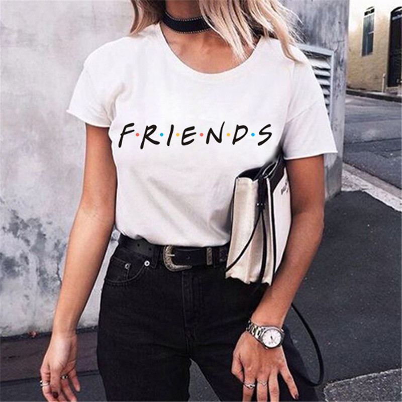 New Harajuku Letter Printing Summer Tops Fashion Casual Tees For Women Friends TV Show Shirt Gift T shirt image