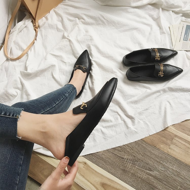 9827eb345f55 Korean fashion flat shoes women spring autumn new pointed toe sexy vintage black  casual shoes slip on pu leather female shoes-in Women's Flats from Shoes on  ...