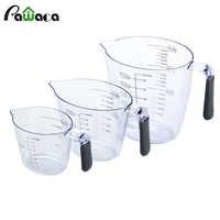 3 pièces 200 ml/400 ml/900 ml Set de Tasses à Mesurer En Plastique Liquide Tasse à Mesurer Cruche Bec Verseur Outils De Mesure avec Poignées En Silicone