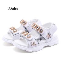 AAdct summer new girls sandals princess big Rhinestone little kids sandals for girls Brand fashion children shoes rivet