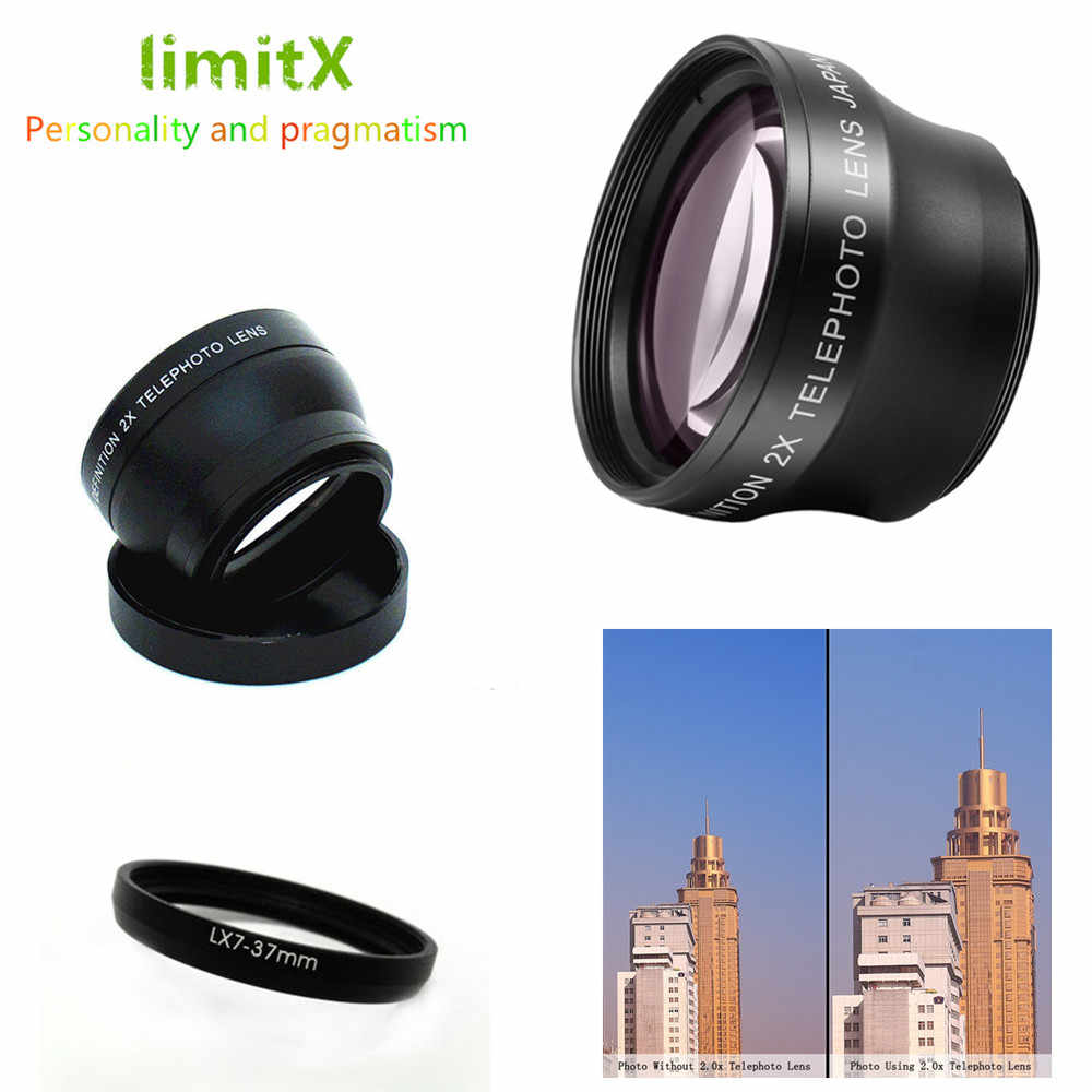 2X magnification Telephoto Lens & Adapter ring for Panasonic Lumix DMC-LX7 LX7 Digital Camera