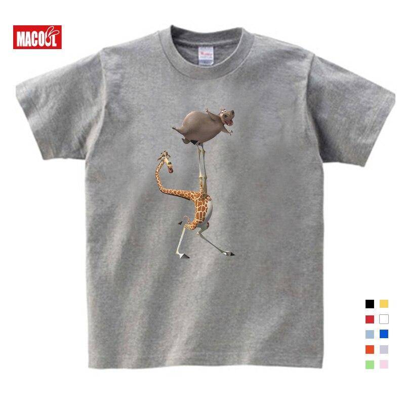 Cartoon Printing Madagascar Summer New T Shirt Gloria Melman Cute Funny T Shirt Summer Send Children Birthday Gift Kids Clothes in T Shirts from Mother Kids