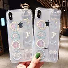smile wristband tpu case for iphone XS MAX XR X 7 8 6 6S Plus cover cute cartoon emoji holder transparent soft phone bag