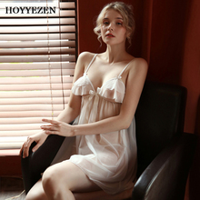 Hoyyezen new sexy woman pajamas summer hollow tulle perspective ice silk strap nightdress suit