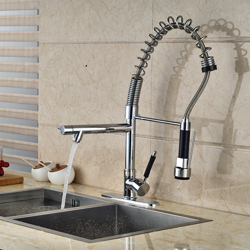 29 Tall Chrome Kitchen Faucet 2 Swivel Spouts Vessel Sink Mixer Tap Deck Mount luxury solid brass kitchen faucet dual spouts vessel sink mixer tap w 8 plate