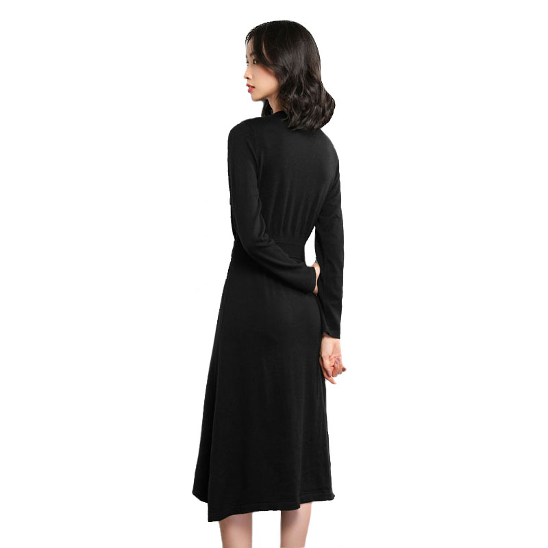 Cashmere Knitted A Line Sweater Dress Women s Wool Dresses 2018 New Long  Sleeve V Neck Slim Female Pullover Belted Dresses Maxi ba48e4121f9a