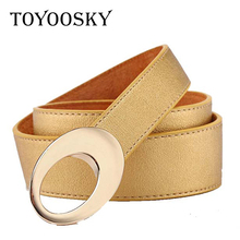 2018 New Fashion Womens Leather Belt Black Red Solid Luxury Belts For Women Casual for Ladies Designer TOYOOSKY