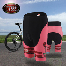 TVSSS Women's Cycling Tights & Pants MTB Sports Shorts Sexy Tight Pants Elastic Slim Fitted Rose Pattern Design Bicycle Pants
