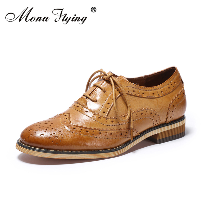 Women Flats Oxfords Shoes 2018 Vintage Brand Genuine Leather Women Lace-up Casual Brogue Shoes for Women Handmade Shoes FLX18-21 2018 vallu women brogue shoes wingtip perforated round toes lace up genuine leather vintage oxfords women flats shoes plus size