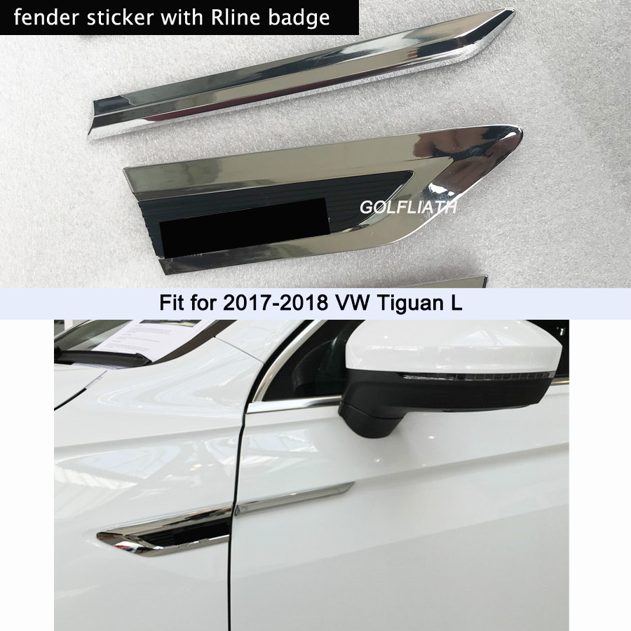 1Pair 3D Car Styling ABS Chromed Side Wing Badge Emblem Fender Rline Car Sticker For Volkswagen Tiguan L 2017 2018