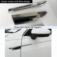 1Pair 3D Car Styling ABS Chromed Side Wing Badge Emblem Fender Rline Car Sticker for volkswagen Tiguan L 2017 2018