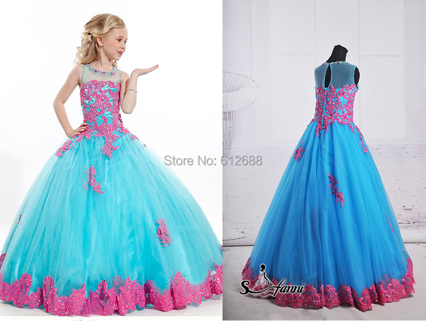 Beauty Pageant Dresses For Little Girls Scoop Appliques