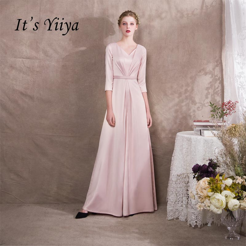 It s Yiiya Half Sleeves V-neck Zipper Taffeta Empire Dinner Dress Elegant  Jumpsuit Formal Pant e7735c71e1d6
