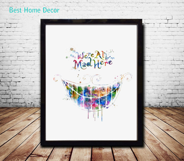 Alice In Wonderland Wall Art aliexpress : buy we are all mad here quote alice in wonderland