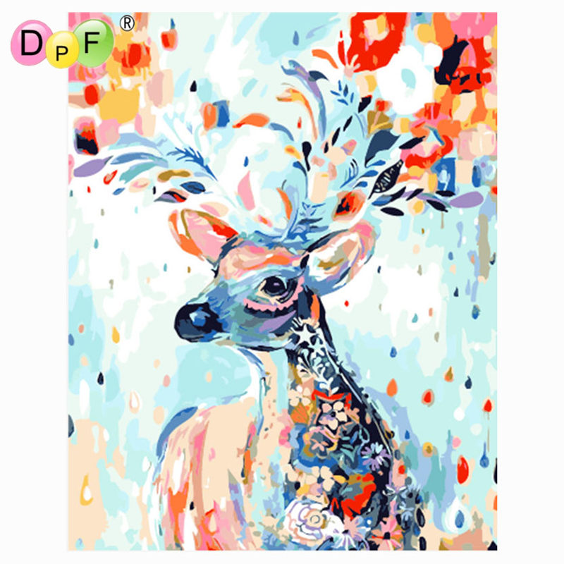 DPF DIY oil Painting Color the deer Paint On Canvas Acrylic Coloring By Numbers painting For living room Decor no frame gift