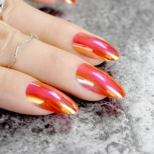 Stilettos Oval Sharp end Nails Chrome Chameleon Mirror Metallic False Nail Metal Shiny Red Fake Nails Acrylic Stiletto Nail Art(China)