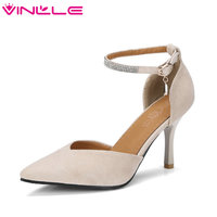 VINLLE 2018 Elegant Summer Shoes Women PU Leather Ankle Strap Thin High Heel Pointed Toe Crystal