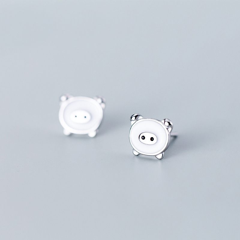 MloveAcc Cute Real Silver Pig Stud Earrings For Women 925 Sterling Silver Earrings Jewelry