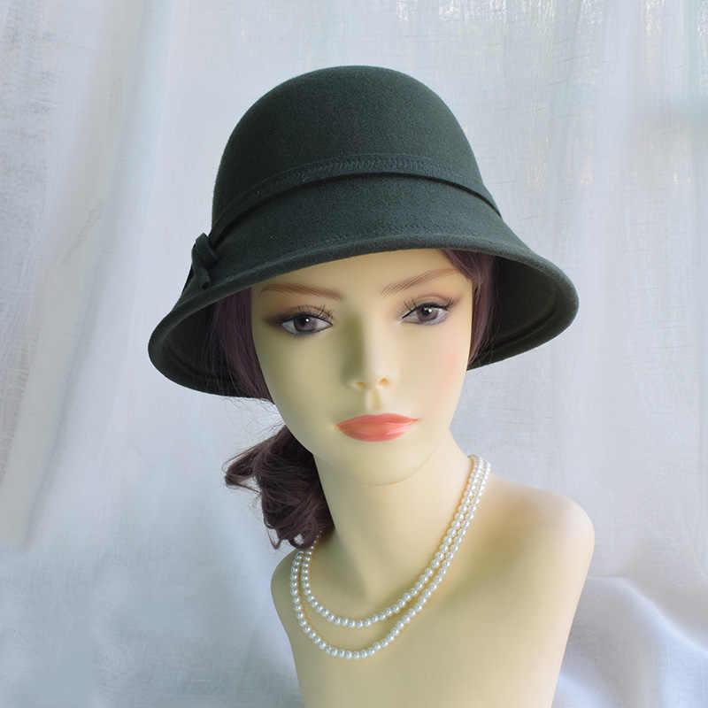 fc6e1b36fa6 ... Winter Army Green Wool Felt Fedora Hats For Women Ladies Cloche Hats  Female Chapeau Free Shipping ...