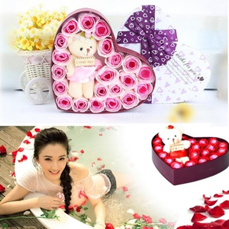 Романтический мыло в Форме Розы элегантный с маленьким милый игрушечный медведь в форме сердца коробка отлично подходит для День святого Валентина подарки свадебный подарок