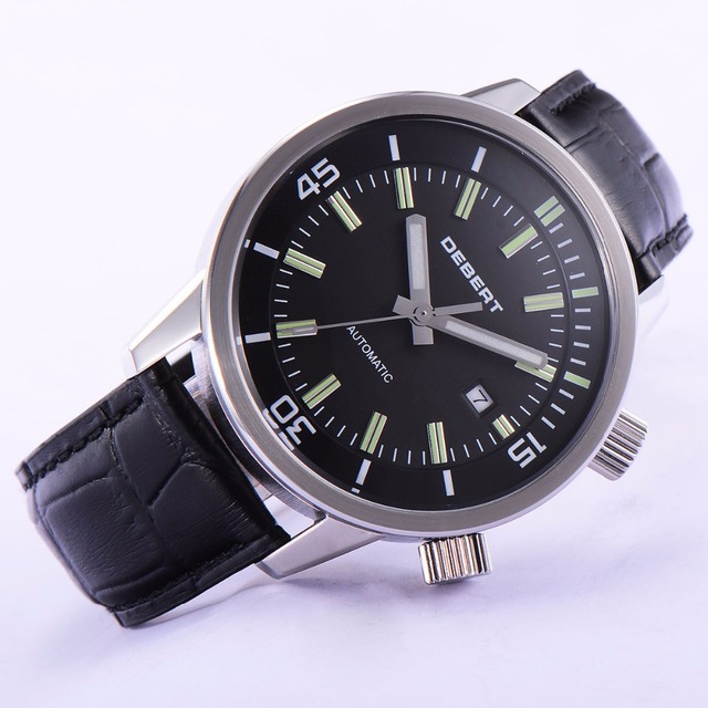 44,5 мм DEBERTBlack циферблат кожаные ремни Miyota 821A Mov не Мужские Авто наручные часы
