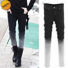 HOT Gradient Slim Fit Grey Stretch Pencil Pants Men Hip Hop Streetwear Boys Students Teenagers Bottoms Cuff Classic Design 28-34