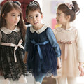 Kids Dress For Girls 2016 Girls Dress With Longsleeve Autumn Winter Cotton Lace Turndown Collar Baby Children Dress Clothes