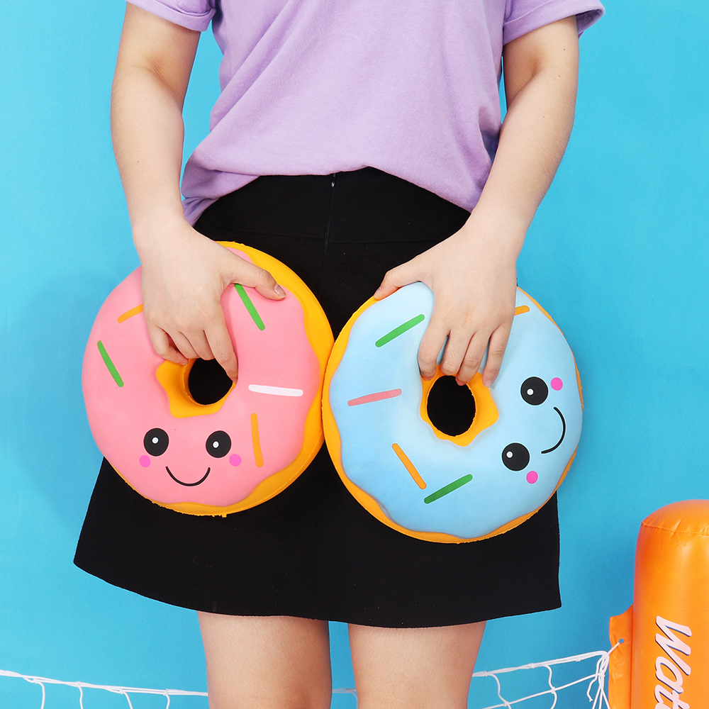 1 Piece 25cm Simulation Donut Squishy-Jumbo Soft Slow Rising Big Squishies  Anti-strss Collection Gift Huge Decor Squeeze Toy