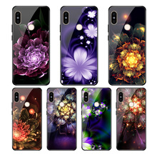 For redmi note5 6 beautiful geometric pattern mobile phone shell glass note6 Tempered case